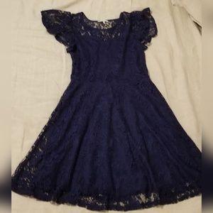 Navy Blue Stretch Lace Dress M